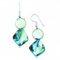 Blue Mother Of Pearl Freshwater Cultured Pearl Earrings in Sterling Silver