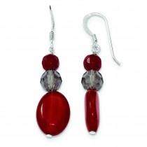 Smokey Crystal Red Jade Earrings in Sterling Silver