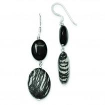 Black Sardonyx Zebra Jasper Earrings in Sterling Silver