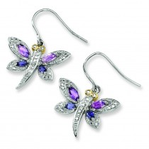 Amethyst And Iolite And Diamond Dragonfly Earrings in Sterling Silver (0.01 Ct. tw.)