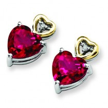Crimson Red Topaz And Diamond Earrings in Sterling Silver (0.01 Ct. tw.) (0.01 Ct. tw.)