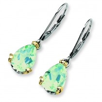 Green Amethyst Leverback Earrings in Sterling Silver