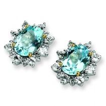 Sky Blue White Topaz Earrings in Sterling Silver