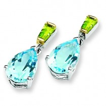 Sky Blue Topaz And Peridot Earrings in Sterling Silver