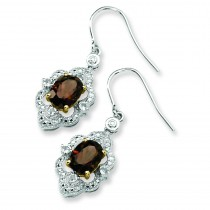Smokey Quartz White Topaz Diamond Earrings in Sterling Silver (0.01 Ct. tw.)