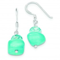 Aquamarine Crystal And Blue Jade Earrings in Sterling Silver