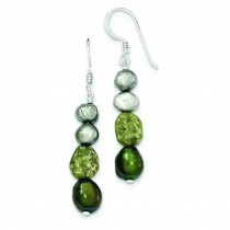 Peridot And Green Freshwater Cultured Pearl Earrings in Sterling Silver