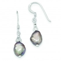 Light Grey Freshwater Cultured Pearl Earrings in Sterling Silver