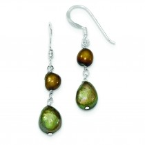 Copper And Olivine Freshwater Cultured Pearl Earrings in Sterling Silver