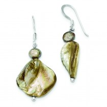 Light Brown Mother Of Pearl Fresh Water Cultured Pearl Earrings in Sterling Silver