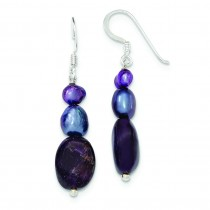 Amethyst Purple Grey Freshwater Cultured Pearl Earrings in Sterling Silver