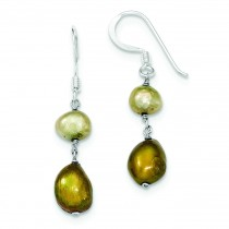 Champagne Copper Freshwater Cultured Pearl Earrings in Sterling Silver