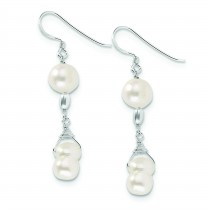 White Freshwater Cultured Pearl Earrings in Sterling Silver