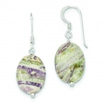 Light Charoite Earrings in Sterling Silver