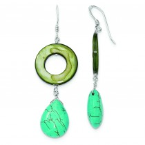 Dyed Blue Howlite Green Mother Of Pearl Earrings in Sterling Silver