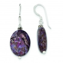 Dark Charoite Earrings in Sterling Silver
