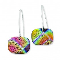 Yellow Blue Red Round Dichroic Glass Dangle Earrings in Sterling Silver