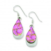 Pink Dichroic Glass Teardrop Shaped Dangle Earrings in Sterling Silver