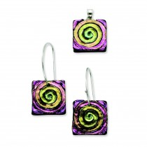 Pink Yellow Dichroic Glass Earrings Pendant Set in Sterling Silver