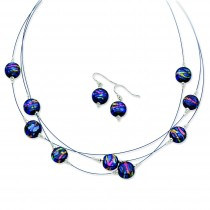 Blue Dichroic Glass Earrings 8In Necklace Set in Sterling Silver