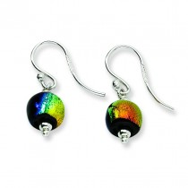 Dichroic Glass Bead Earrings in Sterling Silver