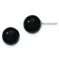 Black Agate Earrings in Sterling Silver
