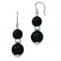 Black Agate Fw Cultured Silver Pearl Earrings in Sterling Silver