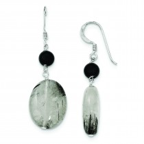 Black Crystal Tourmalinated Quartz Earrings in Sterling Silver