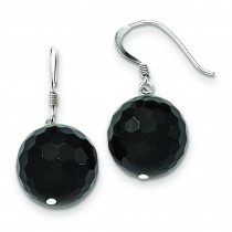 Faceted Onyx Bead Earrings in Sterling Silver