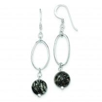 Oval Links 9 Zebra Jasper Earrings in Sterling Silver