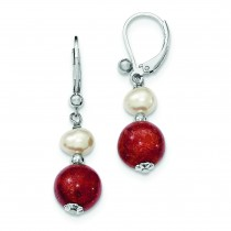 Freshwater Cultured Pearl Red Coral Earrings in Sterling Silver