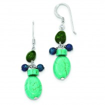 Aventurine Dyed Howlite Turquoise Blue Jade Earrings in Sterling Silver