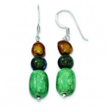 Howlite Stabilized Chrysocolla Fw Cultured Pearl Earring in Sterling Silver