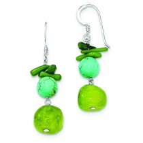 Jade Green Coral Dyed Howlite Earrings in Sterling Silver