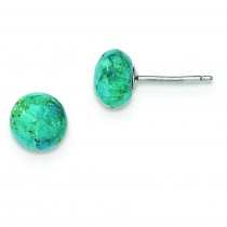 Button Turquoise Post Earrings in Sterling Silver
