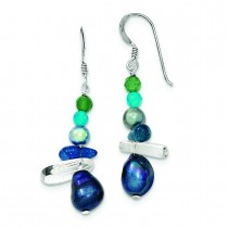 Aventurine Crystal Fw Cultured Pearl Dangle Earring in Sterling Silver