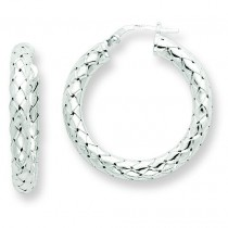 Textured Hoop Earrings in Sterling Silver