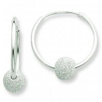 Laser Bead Endless Hoop Earrings in Sterling Silver