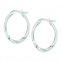 Twisted Oval Hoop Earrings in Sterling Silver