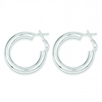 Omega Back Hoop Earrings in Sterling Silver