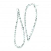 Textured Fancy Hoop Earrings in Sterling Silver