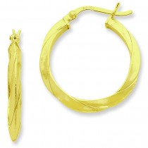 Gold Flashed Knife Edged Twist Hoop Earrings in Sterling Silver