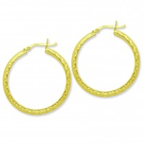 Gold Flashed Patternedhoop Earrings in Sterling Silver