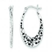 Textured Oval Hoop Earrings in Sterling Silver