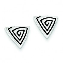 Textured Triangle Post Earrings in Sterling Silver