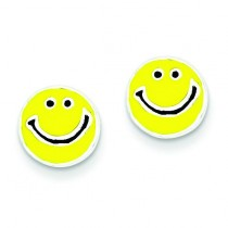 Enameled Happy Face Post Earrings in Sterling Silver