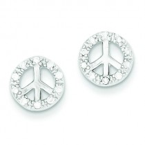 Small CZ Peace Symbol Post Earrings in Sterling Silver