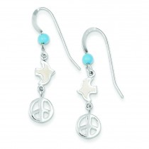 Enameled Dove W Peace Symbol Earrings in Sterling Silver