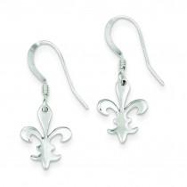 Fleur De Lis Dangle Earrings in Sterling Silver