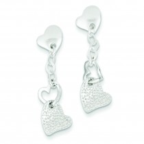 Dangle Heart Post Earrings in Sterling Silver